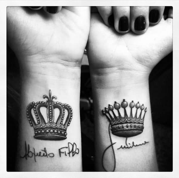 King And Queen Wrists Tattoos