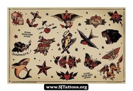 sailor jerry rum bottle tattoos designs