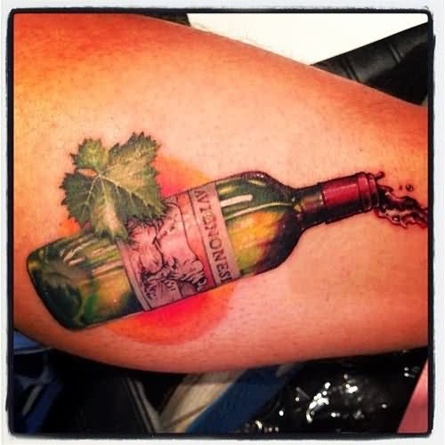 wine bottle tattoo on right leg. Black Bedroom Furniture Sets. Home Design Ideas