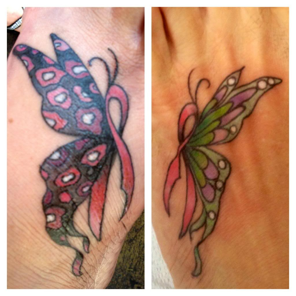 Color Butterfly Cancer Tattoo On Left Foot
