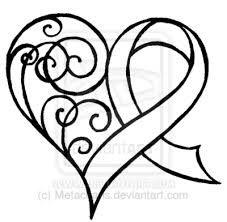 Outline Ribbon Cancer Tattoo Design