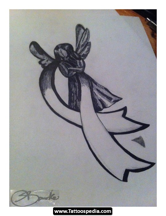 Ribbon Cancer Tattoo Design