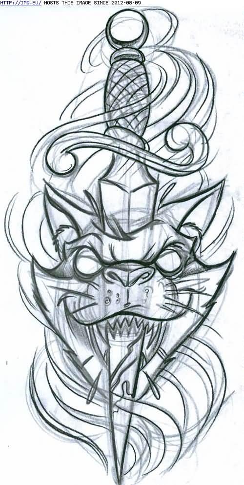 Dagger Tattoo Outline: Cat Head With Dagger Tattoo Design