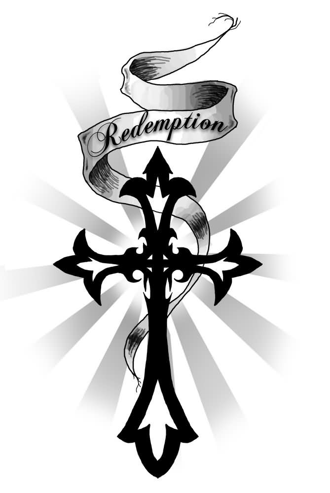 Banner And Tribal Cross Tattoo Design