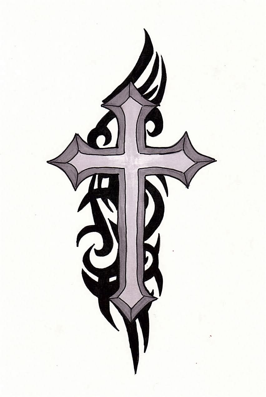 Black ink tribal cross tattoo design for Black tribal tattoo ink