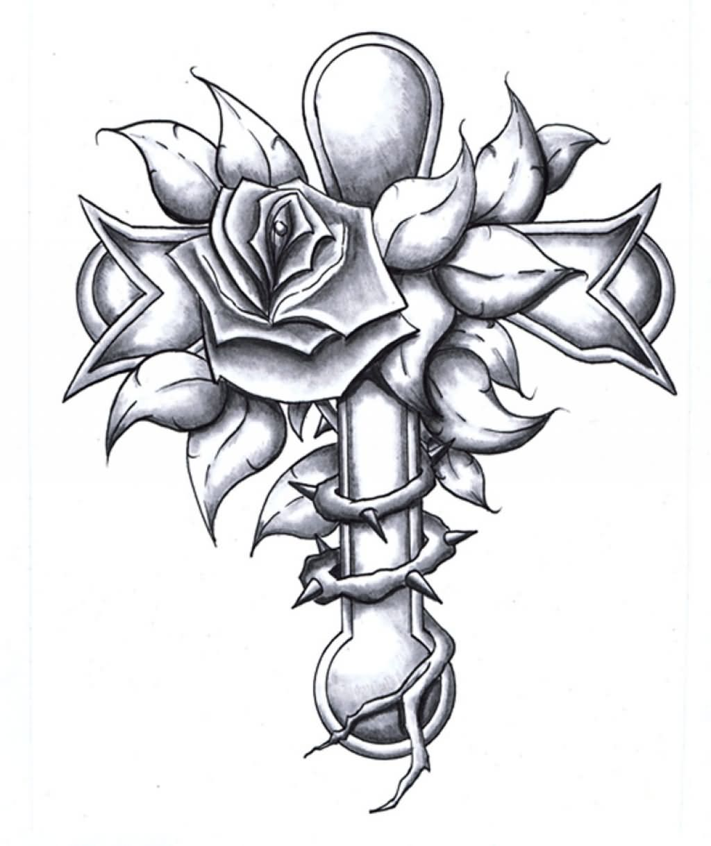 grey rose flower and cross tattoo design. Black Bedroom Furniture Sets. Home Design Ideas