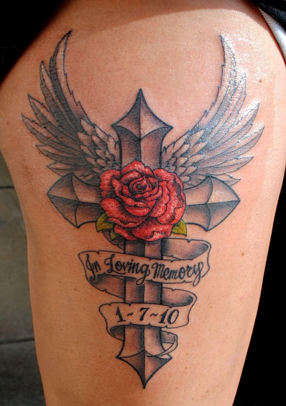 Angel winged cross and rose flower tattoo design for Flower cross tattoo