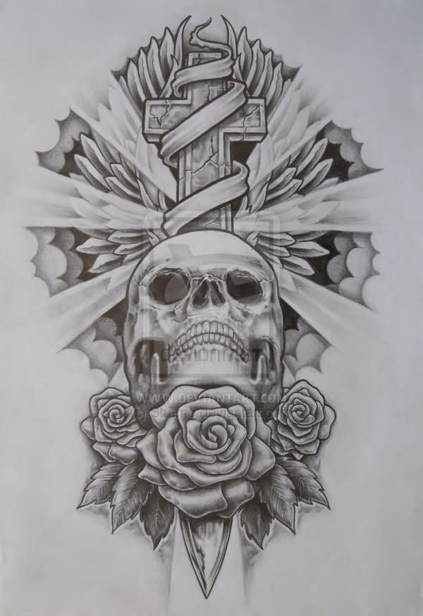 Cross tattoo images designs for Skull and crossbones tattoo