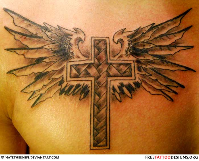 Cross tattoo images designs for Tattoo cross with wings