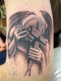 Elegant cross in hand tattoo for Elegant cross tattoos for women