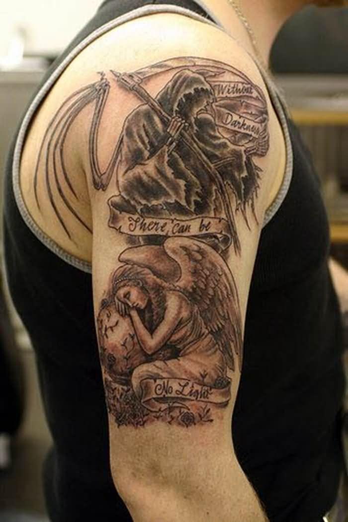 077344f2f27f0 Beautiful Man Right Half Sleeve Demon Tattoo