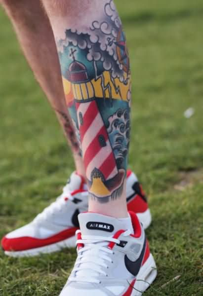 51d0a27a2 Color Ink Lighthouse Tattoos On Man Left Leg