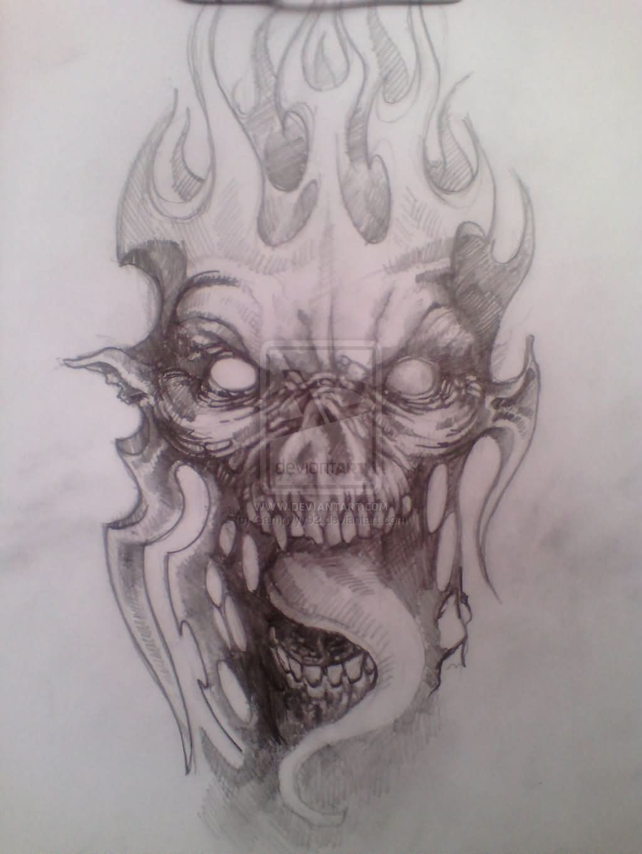 flaming skulls demon tattoo design. Black Bedroom Furniture Sets. Home Design Ideas