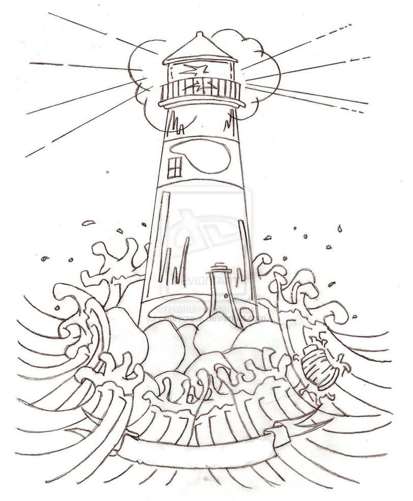 Outline Lighthouse Tattoo Design