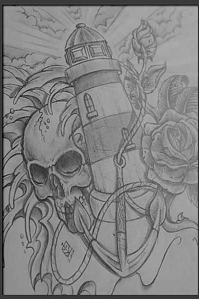 Skull And Lighthouse Tattoo Design