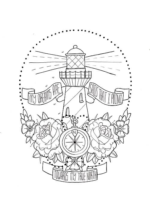 Zompass And Lighthouse Tattoo Design