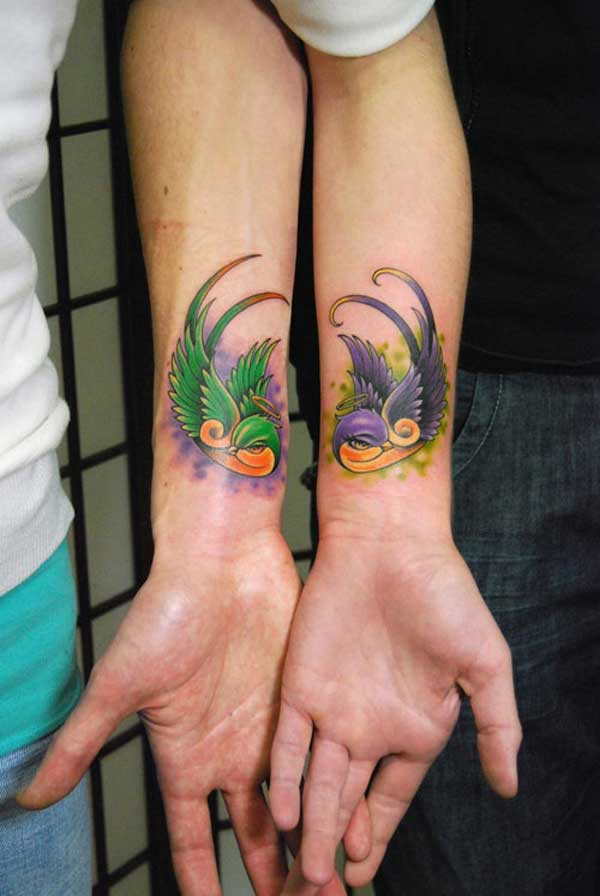 Color Ink Flying Birds Wrists Couple Tattoo