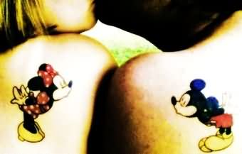 Color Ink Mickey Mouse Couple Tattoo