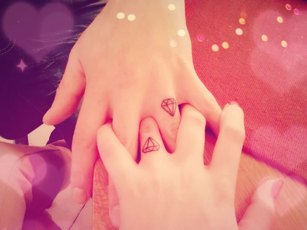 Diamonds Couple Tattoos On Fingers