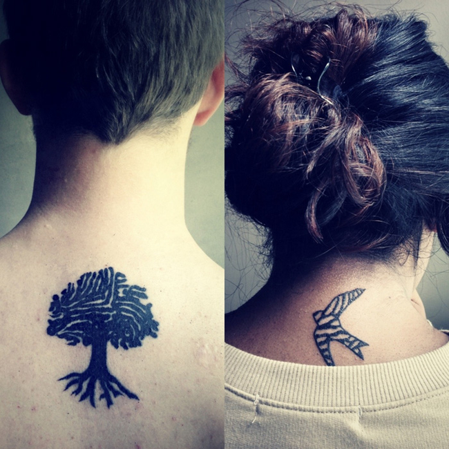 Flying Birds And Tree Couple Tattoo