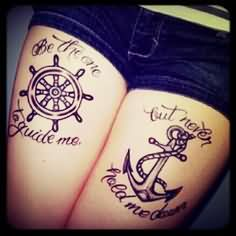 Sailor Anchor And Compass Couple Tattoo
