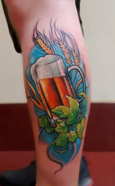 color ink beer glass tattoo on leg. Black Bedroom Furniture Sets. Home Design Ideas