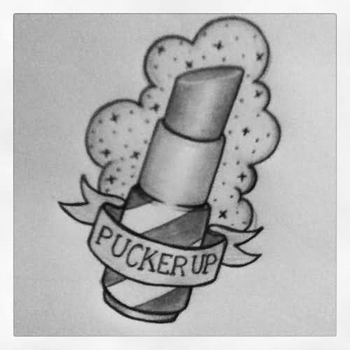 Pucker Up Banner And Lipstick Tattoo Design