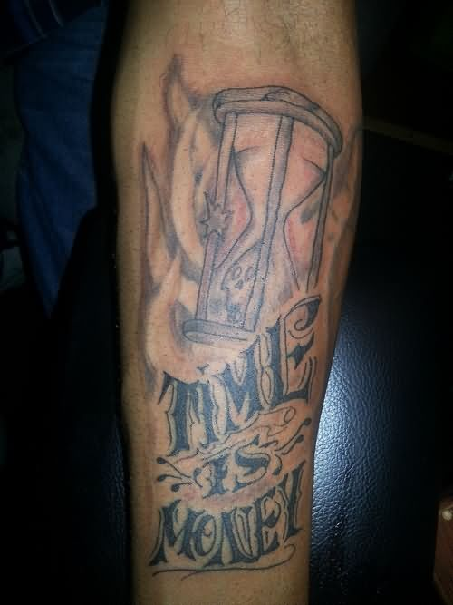 Time Is Money Hourglass Tattoo