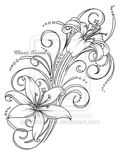 Lily Tattoo Line Drawing : Awesome outline lily flowers tattoo design