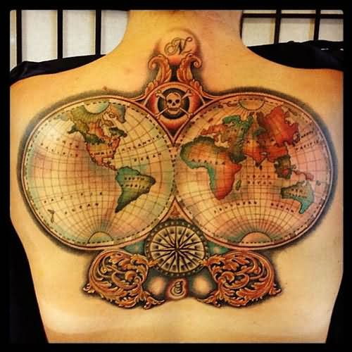 Color ink world map tattoo on back color flowers and world map tattoos gumiabroncs Images