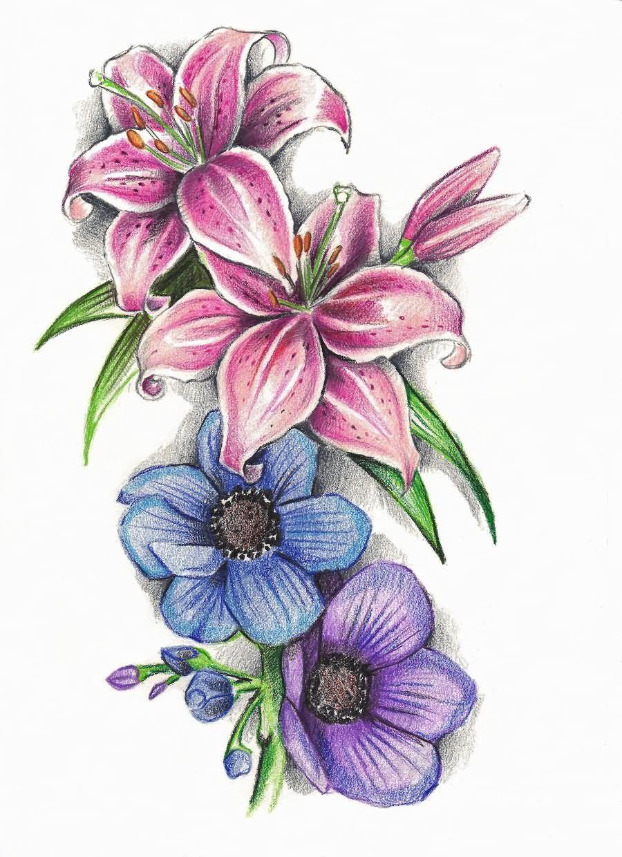 lily designs tattoos flower tattoo flowers butterfly floral sketch lilly lilies stargazer star lillies colorful tiger stencils butterflies deviantart anemone