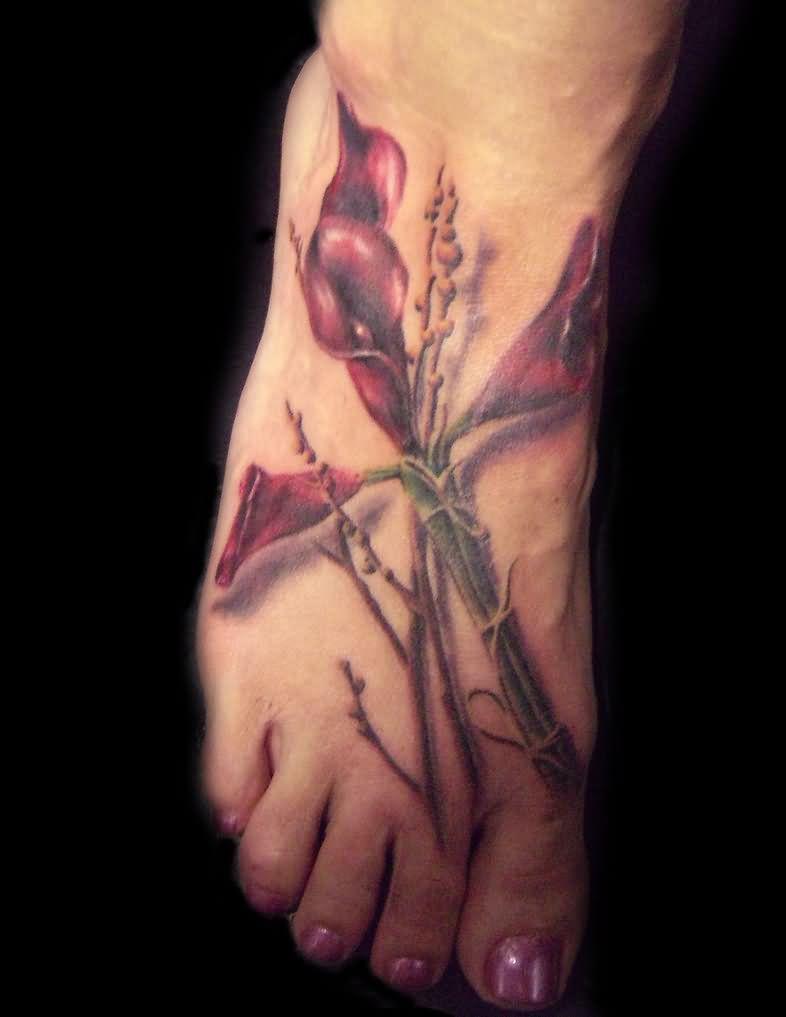 Right foot calla lily tattoo design izmirmasajfo