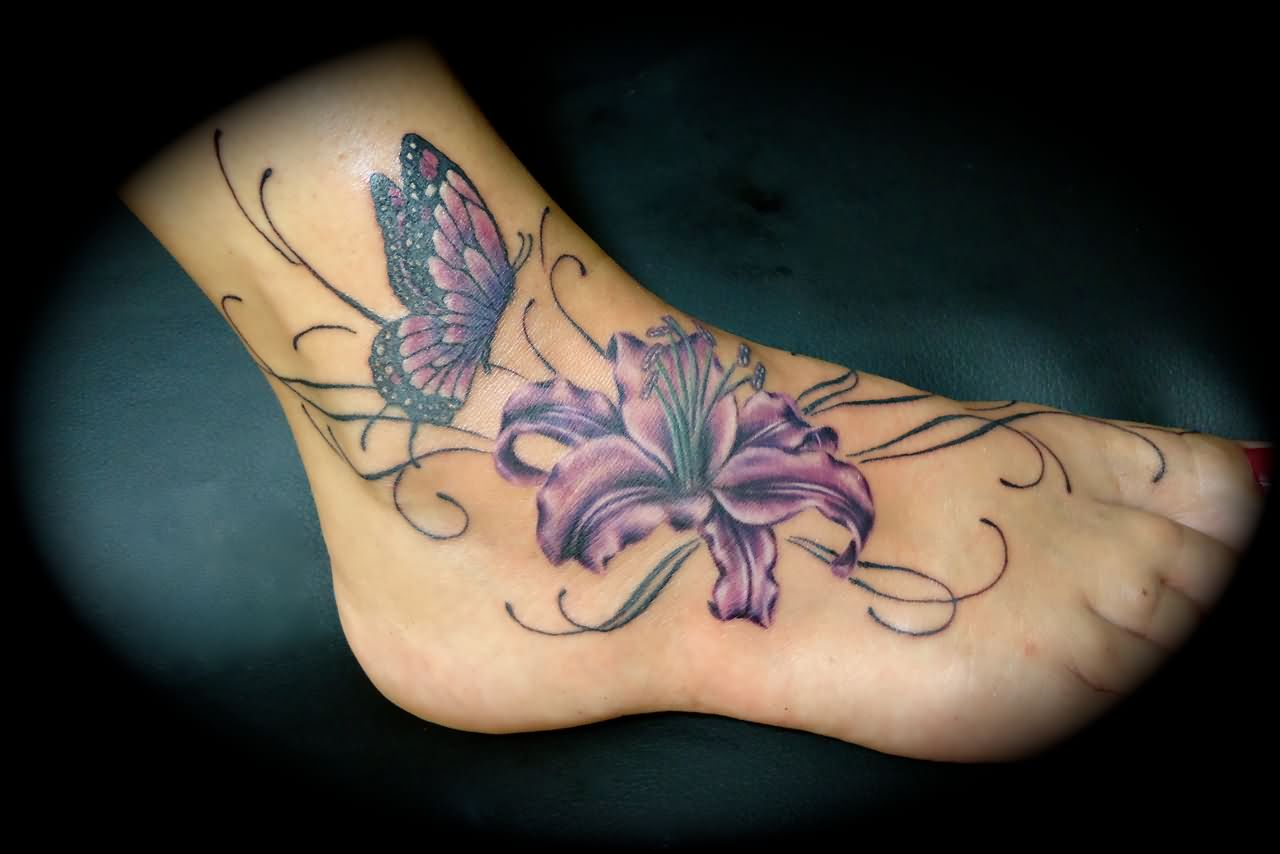 Right Foot Butterfly And Lily Tattoo Design