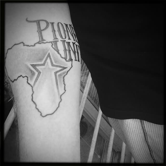 Star In African Map Tattoo