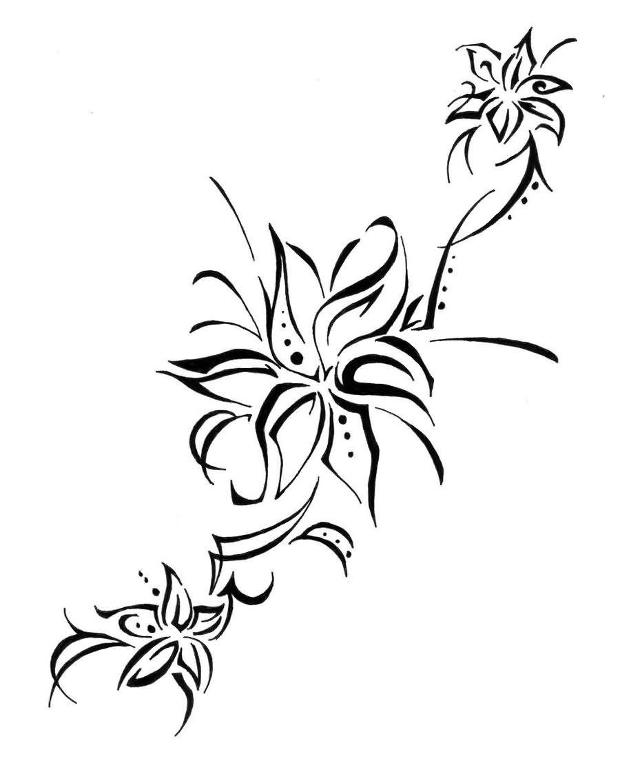Tribal Lily Tattoo Design