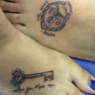 Lock Heart And Key Matching Tattoos For Daughter And Mother