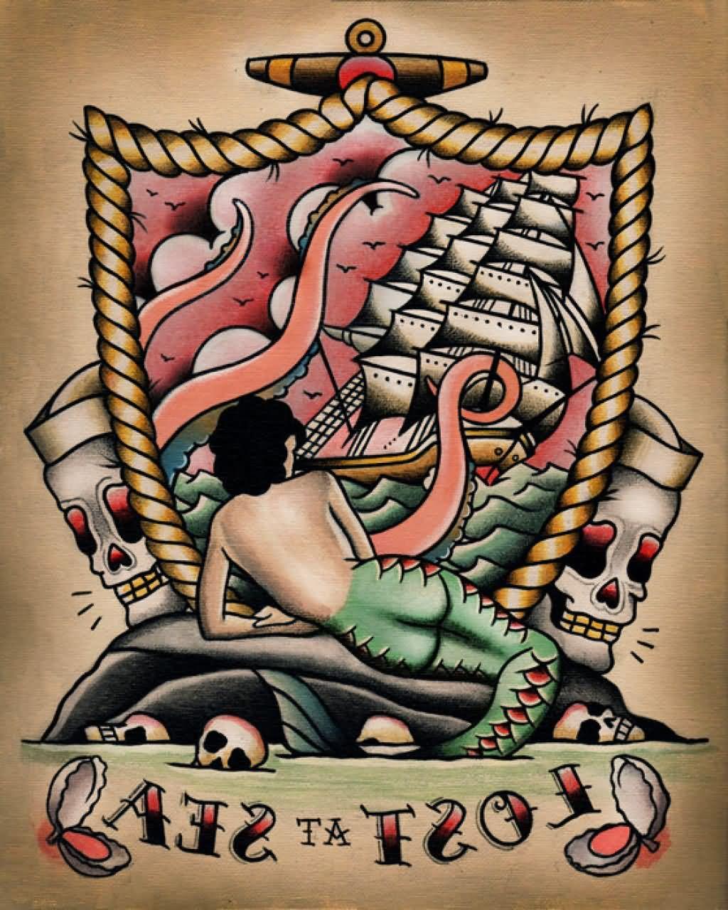 Traditional Mermaid Tattoo Design