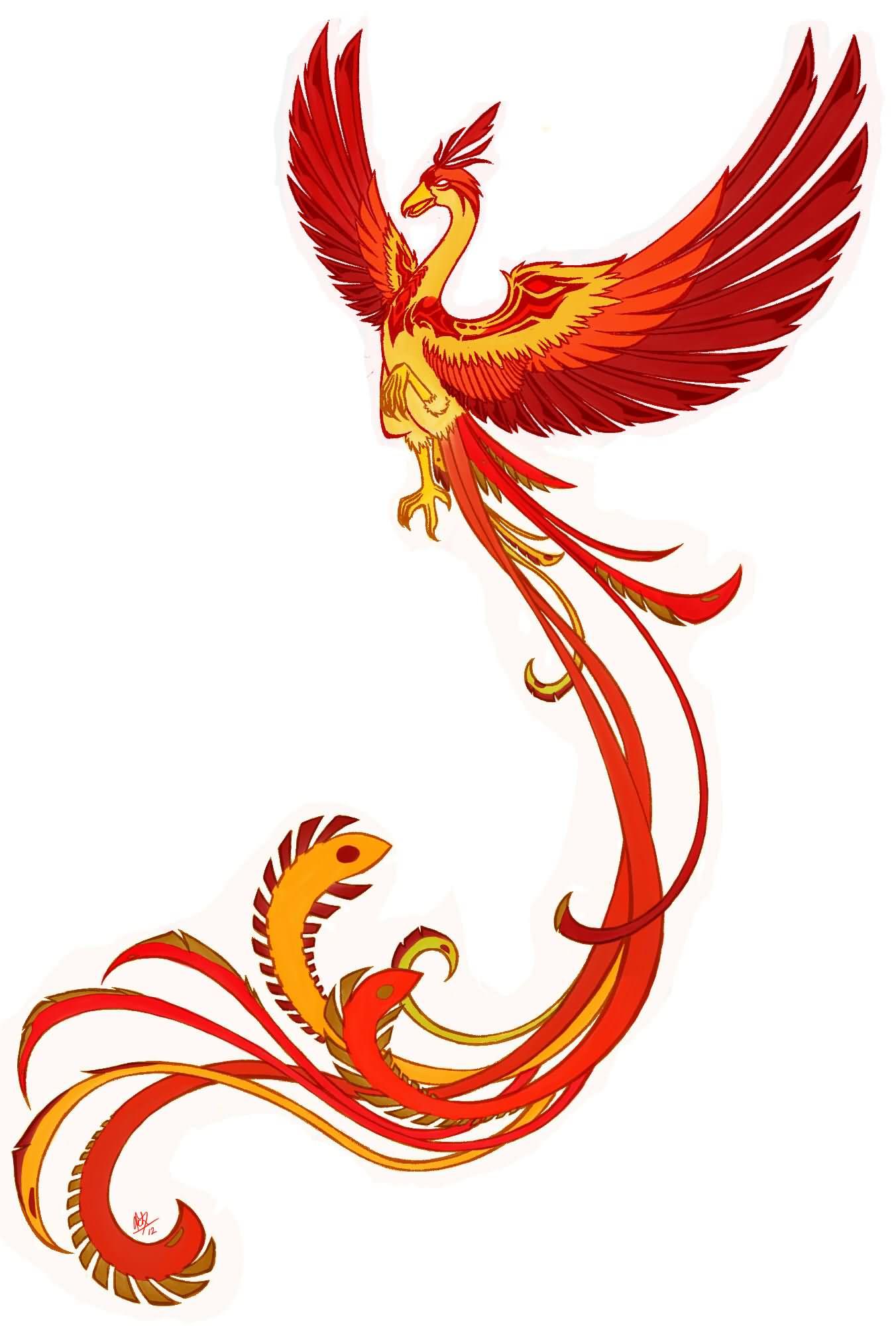 Classic Flying Phoenix Tattoo Design
