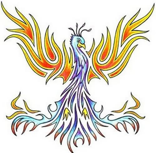 Colored Tribal Phoenix Tattoos Design