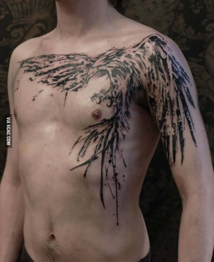 Grey Ink Phoenix Tattoo On Chest And Left Shoulder