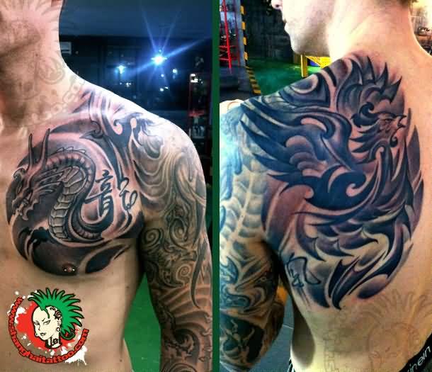 Man Chest Phoenix Tattoo On Left Shoulder