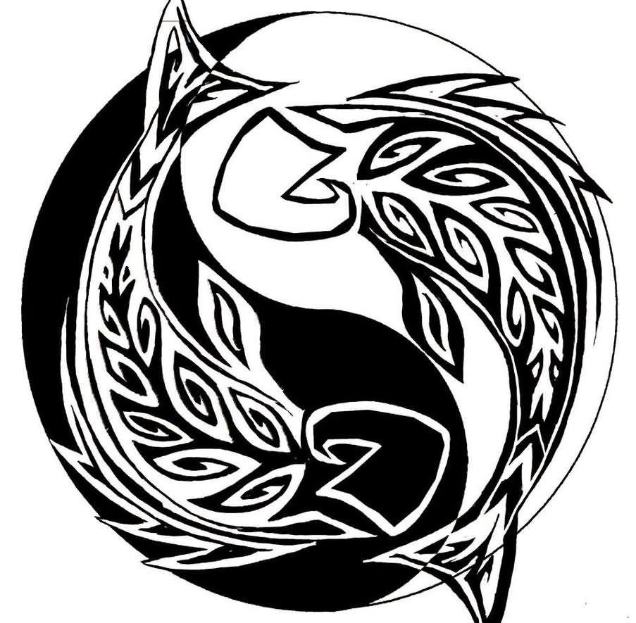 Tribal Pisces Fish Tattoos Design