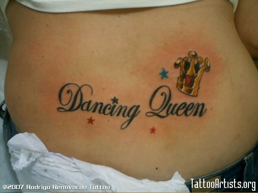Dancing queen with small crown tattoo on lowerback for Crown tattoos on lower back