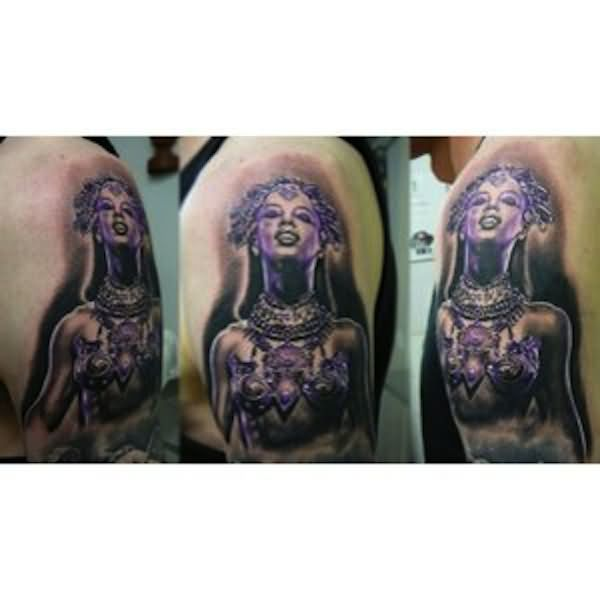 Grey Ink Queen Tattoo On Man Full Sleeve