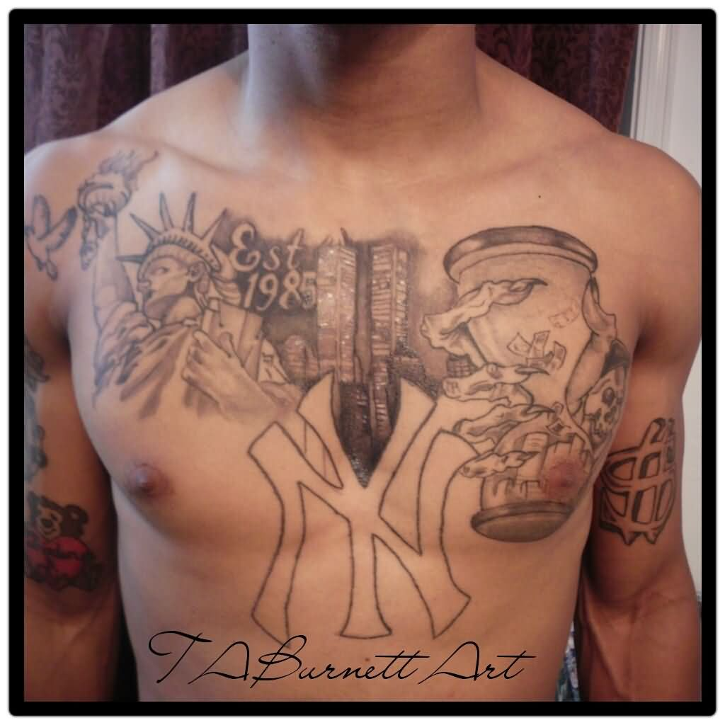 Hourglass And Queen Tattoo On Man Chest
