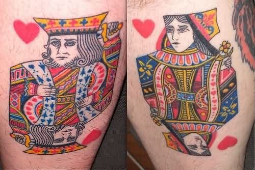 King And Queen Cards Tattoos On Legs