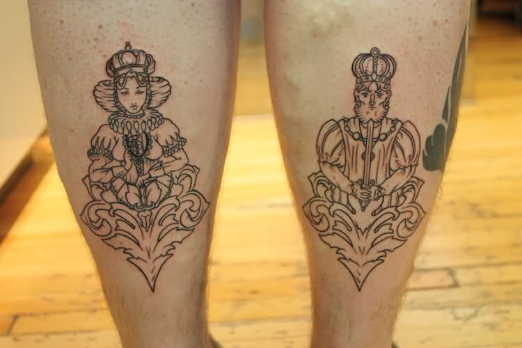 King And Queen Tattoos On Back Legs