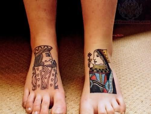 King And Queen Tattoos On Both Feet