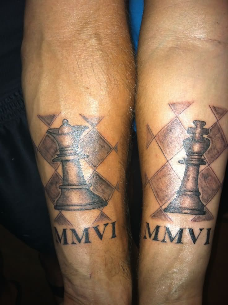 Queen And King Tattoos On Wrists