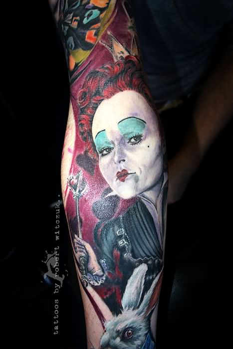 Red hairs queen tattoo on sleeve for Tattoo removal in queens